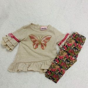 5/$25❤️ Baby Girl Little Lass Butterfly Outfit
